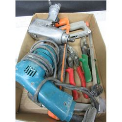 Flat of Tools /  CP 1/2 inch Impact / drill / 2 Hacksaws / Tin Snips