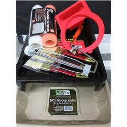 Large New Painting Bundle / 2 paint trays / 3 brushes / 2 rollers & handle and