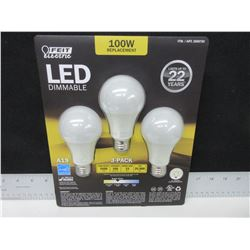 LED Dimmable 100watt replacement Bulbs / last 22 years save on your bill