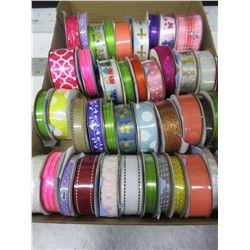 Flat full of New Offray rolls of Ribbon /  41 rolls