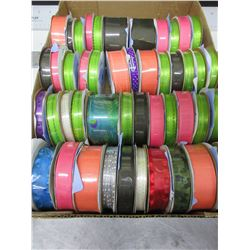 Flat full of New Offray rolls of Ribbon /  48 rolls