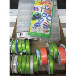 Bead storage kits / Stamper kit and Assorted rolls of Ribbon