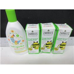 New Zarbee's Childrens Cough Syrup + Mucus dark honey/ Bubble Bath