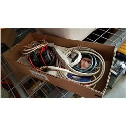 BOX OF ELECTRICAL CORDS, HEAD PHONES, IPHONE 4, AND MODEL CAR