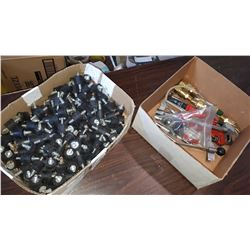 BOX OF BRASS FITTINGS, TOOLS, AND BOX OF RUBBER SPACERS