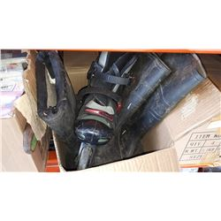 BOX OF RUBBER BOOTS AND ROLLER BLADES