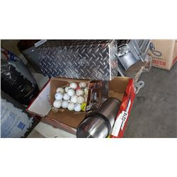 CHECKER PLATE MAILBOX, THERMOS AND GOLF BALLS