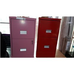 PINK AND RED 2 DRAWER FILING CABINETS