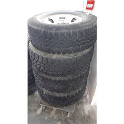 SET OF FOUR 285/75 R16 TIRES ON RIMS