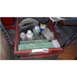 SMALL TOTE OF BUFFING MATERIALS