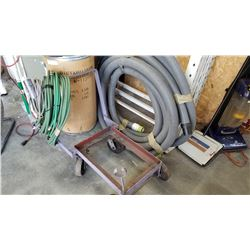 LOT OF HOSES AND 4 WHEEL CART