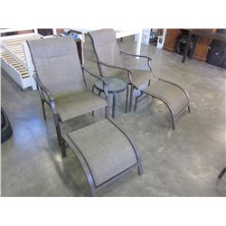 2 PATIO CHAIRS WITH FOOT STOOLS AND ROUND ENDTABLE