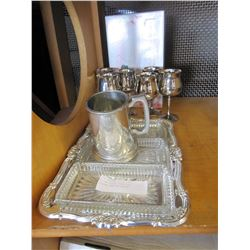 SILVER PLATE, CUPS, AND CRYSTAL SERVING PIECES