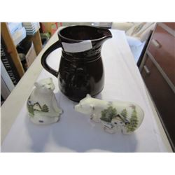 CHERRY JUG AND 2 CERAMIC SPIRIT BEARS
