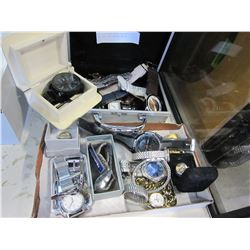 TWO CASES OF MENS ESTATE WATCHES AND DIESEL WATCH