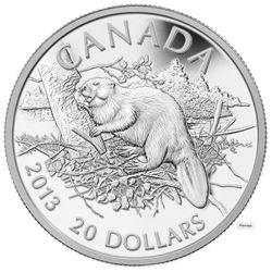 $20 - 2013 The Beaver 1oz Silver .9999 Fine Silver