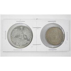 Lot (2) 5 and 10 Silver - Deutsche Mark