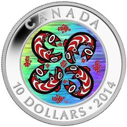 2014 $10 First Nations Art: Salmon - Pure Silver C