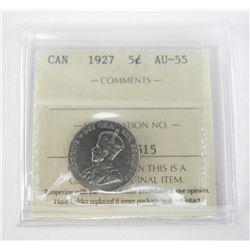 1927 Canada 5 Cent AU-55. ICCS.