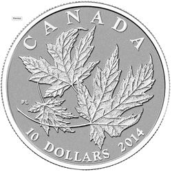 2014 - $10 Silver Maple Leaf .9999 Fine Silver.