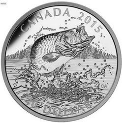 2015 - $20 Largemouth Bass .9999 Fine Silver.