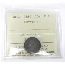 NFLD 1880 Silver 10 Cents F-15 (ICCS).