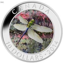 2014 - $10 Green Darner Dragonfly .9999 Fine Silve