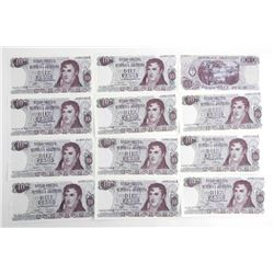 Lot (12) Bank of Argentina 10-Diez Pesos Sequence