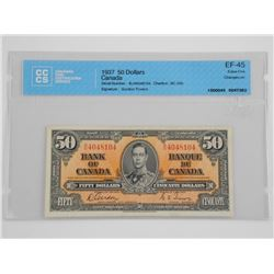 1937 $50.00 Bank of Canada G/T (CCCS) Certified EF