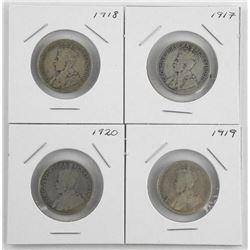 Lot (4) Canada Silver 25 Cent: 1917-1918-1919-1920