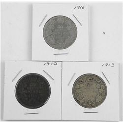 Lot (3) Canada Silver 50 Cent: 1910, 1913, 1916