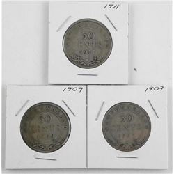 Lot (3) NFLD Silver 50 Cent: 1907, 1909, 1911