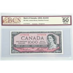 Bank of Canada, 1954, $1000. AU50 Original. Changeover.