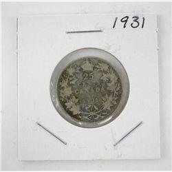 Canada 1931 Silver 25c.