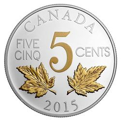 2015 5c Legacy of the Canadian Nickel: The Two Maple Leaves - Pure Silver Coin