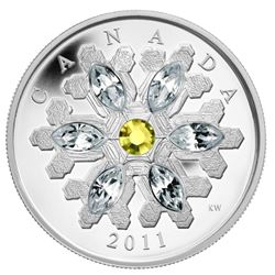2011 $20 Topaz Crystal Snowflake - Pure Silver Coin