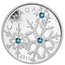 2011 $20 Montana Blue Small Crystal Snowflake - Pure Silver Coin