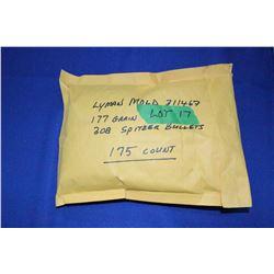 Bullets:  308 Spitzer, 177 gr., Lyman Mold 311467 (170 count)