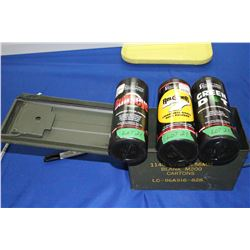 3 Part Containers of Smokeless, Small Rifle, Pistol Powder and Shot Shell Powder in a Military Ammo