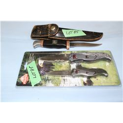 "G96 Brand, 4"", Model 900 Knife w/Sheath & a Fighter Plus Set of Knives (1 - 3 1/2"" and 1 - 4 1/2"")"