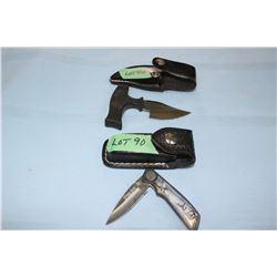 "Rivers Edge Lockback Pocket Knife, 2 1/2"" Blade w/Sheath & a Bush Knife, 3"" Blade w/Sheath"