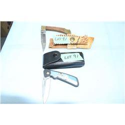 """Lockback Knife, 3 1/4"""" Blade w/Sheath & a Lockback Maxam 2 1/2"""" Blade with Sheath"""