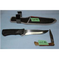 "Tramontina Knife, 5 1/2"" Brazil Blade w/Sheath & a Lockback Pocket Knife"