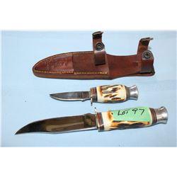 "The Bone Collector 440 Stainless 2 Knife Set - Bone Handles, 4 1/2"" & 2 1/2"" Blades w/Sheath"