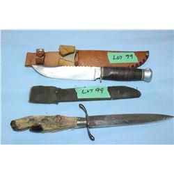 "Premier Hunting Knife (Germany), 5 1/2"" Blade w/Sheath & a Dagger with a Hoof Handle, 5 1/2"" Blade"