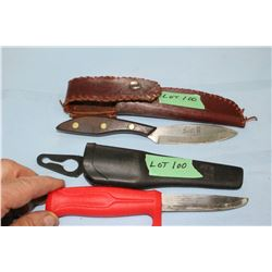 """Frost Hunting Knife, 4"""" Blade w/Sheath & a Well Used Erickson Knife, 3 1/2"""" Blade"""