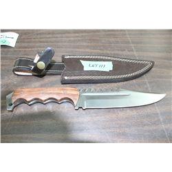 "Ash 440c Steel Bowie-Type Bush Knife w/7"" Blade, Wood Handle & Sheath"