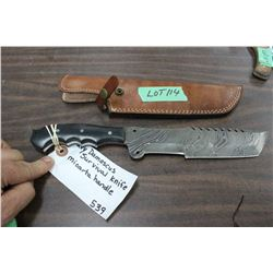 "Heavy Damascus Survival Knife w/8"" Blade, Micarta Handle and Sheath"