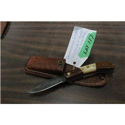 Damascus Folding Lockback Knife w/Walnut & Bone Hand and Sheath
