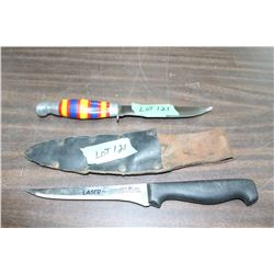 "Richardson, England - Fileting Knife w/Sheath & a Handmade Hunting Knife w/5 1/2"" Blade and Colorful"